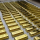 Gold bullion bars laid out